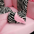 Black and White Zebra Crib Blanket - Crib blanket in Black and White Zebra Minky. Reverse side in a cozy Solid Bright Pink Minky.  Made in USA by Carousel Designs.