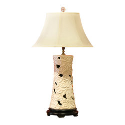 China Furniture and Arts - Ceramic Table Lamp with Shade - Delicately crafted of porcelain, this lamp exudes an airy elegance with the white clouds that form the lamp base. Topped with white silk shade. A wooden base is specially made to complement this work of art. 75 watt max, bulb not included.