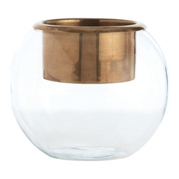 Ringo Large Glass/Antique Brass Candleholder/Vase - Glossy and stylish with a clean, rounded form, the Ringo Candleholder and Vase is an ideal solution to the challenge of creating unique seasonal arrangements for occasions and everyday living. Equipped with an antiqued brass cup that holds a pillar candle, this globe of crystal-clear glass is seamlessly simple, made for ready incorporation into stylish transitional vignettes.