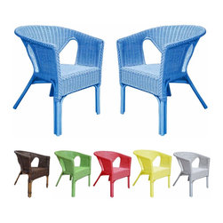 None - Rattan Living Outdoor Colorful Rattan Chairs (Set of 2) - These colorful indoor/outdoor rattan chairs add a fun accent to your patio or room. Each set contains two fully assembled chairs,and their shape is designed to withstand regular use. Their whimsical design is fun for children of all ages.