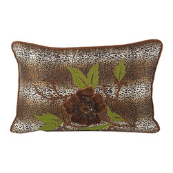 John Richard - John Richard Leopard Print Velvet with Embro JRS-03-3259 - Leopard print with floral embroidery accented with multi-colored beads and sequins.