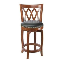 Boraam - Traditional Wood Swivel Counter Stool w Curve - Choose Seat Height: 24 in. ES CherryYou really can have style, comfort and value - check out this Cathedral collection swivel counter stool. It has a diamond lattice back and round padded & upholstered seat. Appointed with nailhead trim for a classic finish. Curved hardwood legs included for stability. Metal to metal fasteners and tool included. Faux nailhead trim. Durable Steel ball bearing swivel. French legs with tapered bottoms. Full ring footrest. Foam cushion with PVC seat. Made from Solid hardwood. Minimal assembly required. Maximum Weight Capacity: 250 LBS. Not suitable for commercial use. Seat Diameter: 17 in.. 18 in. W x 22 in. D x 37.5 in. H (28 lbs.)