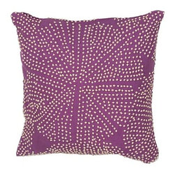 Jaipur - Luli Sanchezs Purple 18-Inch Decorative Pillow - - En Casa is the design collection of Cuban born Queens NY raised painter and surface designer Luli Sanchez. This collection is based off of her painterly works of art that capture an organic and moody yet optimistic spirit. Her geometric paintings were truly inspiring for this pillow collection       - Care Instructions: Remove the throw pillow's cover if it is removable. Wash the cover separately from the pillow. Pre-treat badly soiled or stained areas on the pillow cover with a color-safe prewash spray. Rub the spray into the stain with a damp sponge. Wash the pillow cover or the whole pillow on a gentle-wash cycle in warm water with a very mild detergent. Detergent for delicate fabrics or baby clothes is usually suitable. Remove the pillow or pillow cover as soon as the washing machine has ended the cycle and has shut off. Hang the pillow or cover up to dry in a well-ventilated area. If the care label specifies that the item is dryer-safe place the pillow or pillow cover in the dryer and tumble dry on low heat. Fluff the pillow once it is dry in order to maintain its form. Don't use the pillow until it is completely dry. Damp pillows will attract dirt more easily. Jaipur - PLC101027