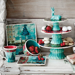 Holiday Entertaining - An engaging mix of shapes, this hand-embellished dinnerware set and serving pieces bring a colorful new twist to holiday meals.