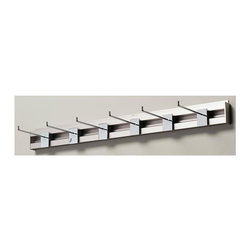 Arrange A Space - Six Peg Coat Rack - Includes hardware. Anodized aluminum rail. Adjustable. Easy to installs into wood studs. Made from metal. Polished chrome finish. 32 in. W x 1 in. D x 3 in. H (2 lbs.)Arrange a Space's patented closet systems provide you with a unique and innovative solution for all of your space and storage needs. Created as a more flexible and versatile option for closets and storage areas than the common white wire or wood shelf, rod systems of the past.