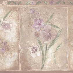 York Wallcoverings - Brown Purple Primrose Floral Wallpaper Border - Wallpaper borders bring color, character and detail to a room with exciting new look for your walls - easier and quicker then ever.