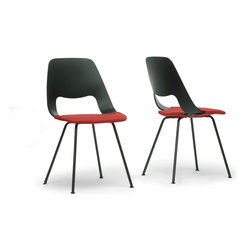 "Baxton Studio - Baxton Studio Vimm Black and Red Modern Dining Chair (Set of 2) - The wondrous contemporary design of our Vimm Designer Dining Chair sets it apart from the rest. Made in China, the Vimm Chair's starring attributes are a black plastic seat, matching black powder-coated steel legs, and a red twill seat cover that is conveniently removable and snugly re-attaches with built-in snaps. Easily maintain the Vimm Chair by wiping it clean with a damp cloth and spot cleaning the cushion. Some assembly is required. Product dimension: 19.37""W x 19.5""D x 34.5""H, seat dimension: 19.12""W x 16.37""D x 19.37""H"