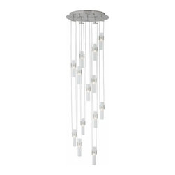 """LBL Lighting - LBL Lighting Tubes 7 line voltage pendant light - The Tubes 7 line voltage pendant light has been designed and made by LBL lighting. This light features a spew of frosted boroscillicate tubes of glass dangling just perfect from a bronze or nickel finish canopy. This pendant can be adjusted it comes with field-cuttable rods for easy shortening or consult factory to add length and additional tubes of light. The fixture Includes 13 x 35W low-voltage GY6.35 base bi-pin lamps and this fixure is cETL LISTED.         Product Details: The Tubes 7 line voltage pendant light has been designed and made by LBL lighting. This light features a spew of frosted boroscillicate tubes of glass dangling just perfect from a bronze or nickel finish canopy. This pendant can be adjusted it comes with field-cuttable rods for easy shortening or consult factory to add length and additional tubes of light.  The fixture Includes 13 x 35W low-voltage GY6.35 base bi-pin lamps and this fixure is cETL LISTED. Details:                         Manufacturer:            LBL Lighting                            Designer:            LBL Lighting                            Made in:            USA                            Dimensions:            Height: 66.5"""" (168.9 cm) X Diameter: 20.9"""" (53.0 cm)                            Light bulb:            13 x 35W low-voltage GY6.35 base bi-pin lamps                            Material:            metal, glass"""