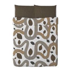 KAJSA TRÄD Duvet cover and pillowcase(s) - Duvet cover and pillowcase(s), brown