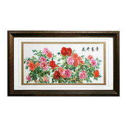 China Furniture and Arts - Good Luck Peony Silk Embroidery Frame - Silk embroidery is a Chinese art form with origins dating back thousands of years. With each piece containing thousands of tiny threads, a composition requires an extremely high level of skill to create. The imagery depicts fully bloomed peony flowers with warm color tones ranging from orange to pink. The reflective nature of the silk thread allows the vibrant petals and leaves to stand out beautifully in light.  Museum quality hardwood framing makes this piece ready to hang and make a statement on any wall it adorns.