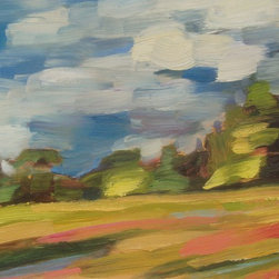 """""""Spilling Gold, Painting"""" - plein air oil painting on primed wood panel"""
