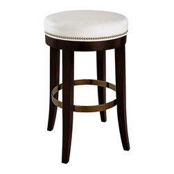 Madsen Swivel Barstool in Patton White - Seat guests and family comfortably at your counter with this transitional swiveling barstool. With a round, padded top for long-term comfort at the bar, this stool brings more traditional outlines to a practical seating solution with slightly splayed, tapering saber legs inspired by Regency-era furniture pieces. An internal ring provides further stability to the legs and echoes the shape of the top, giving a harmonious look to the tall seat.