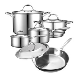 Cooks Standard - Cooks Standard 10-Piece Multi-Ply Clad Stainless-Steel Cookware Set, NC-00235 - What's in Box: 1.5QT Sauce Pan with cover 3-Qt Sauce Pan with cover, 12-inch saute pan with Lid, 8-Qt covered stockpot, 8-inch covered steamer insert, fit both 3Qt and 1.5Qt.
