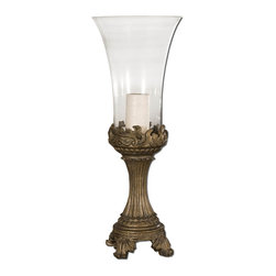 Uttermost - Uttermost Rococo Hurricane Candleholder - Uttermost Rococo Hurricane Candleholder is a Part of Joseph Famulari Collection by Uttermost. Gray patina with golden highlights and clear glass globe. Beige candle included. Art Object (1)