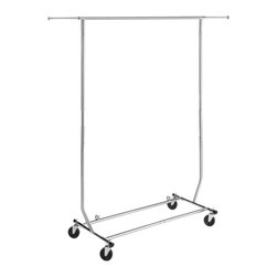 None - Whitmor Chrome Steel Commercial Rolling Garment Rack - Hang up extra coats,clothes and accessories with this commercial-grade folding garment rack. Mounted on wheels so it's easy to move around,this sleek chrome-steel rack folds up for compact storage when not in use.