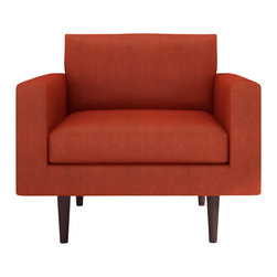 Bobby Berk Home - Brady Chair, Belfast Coral - With its mid century feel the Brady Collection is sophisticated yet restrained and would sit equally comfort- ably in rooms ranging from a living room to a dressing room to a foyer.