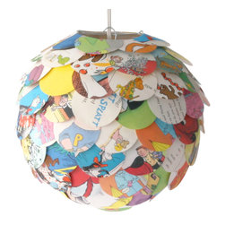 Zipper 8 Lighting - The Manhasset Children's Book Pendant, Shade and Cord - The Manhasset Collection's Children's Book Pendant is a brightly colored artichoke lamp shade created by applying circular pieces cut from children's books to a round paper lantern. With pages featuring a variety of colorful pictures the shade glows warmly when lit up creating a soft glow that would be the perfect accent light for any child's bedroom.