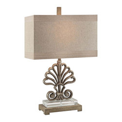 """Lamps Plus - Coastal Crestview Collection Soventry Table Lamp - Soventry coastal table lamp. Toasted silver metal finish. Crystal and metal construction. Champagne linen shade. Maximum 60 watt or equivalent bulb (not included). On/off rotary switch. 25 1/2"""" high. Base is 14 1/2"""" high. Shade is 16"""" wide and 9"""" deep across the top 16"""" wide and 9"""" deep across the bottom 11"""" high. Base is 9 1/2"""" by 5 1/2"""".       Soventry coastal table lamp.  Toasted silver metal finish.  Crystal and metal construction.  Champagne linen shade.  Maximum 60 watt or equivalent bulb (not included).  On/off rotary switch.  25 1/2"""" high.  Base is 14 1/2"""" high.  Shade is 16"""" wide and 9"""" deep across the top 16"""" wide and 9"""" deep across the bottom 11"""" high.  Base is 9 1/2"""" by 5 1/2""""."""