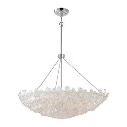Frontgate - Bella Fiori 10-Light Bowl Pendant - Provides ample illumination while making a brilliant accent for a dining room, hallway, bedroom, or foyer. Chrome finish. Clear piastra orchid glass. Hardwire connection. UL listed for dry locations. The beautiful Bella Fiori 10-light Bowl Pendant dazzles the eye with its rounded bowl of clear piastra orchid glass. The chrome finish sparkles against the glass for a wonderfully luminous effect. This radiant piece is perfect for contemporary and modern interiors.  .  .  .  .  . Uses 10 maximum 100-watt or equivalent medium base bulbs .