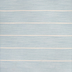 Jaipur Rugs - Flat-Weave Stripe Pattern Wool Blue/Ivory Area Rug - Fashion-forward color and a soft texture highlight the relaxed sophistication of the Coastal Living� Dhurries Collection. Ideal for any casual lifestyle, the boldly striped, flat-woven pieces are easily cleaned - ideal for lounging after a day spent at the beach. Origin: India