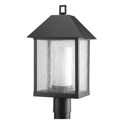 Progress Lighting - Progress Lighting P5415-31 Domino Single-Light Post Lantern with Streamlined - 1-light medium post lantern with streamlined clear glass cage that encases opal etched glass cylinder. The marriage of black and white creates a timeless styling.Features: