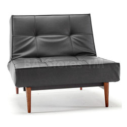 Splitback Black Leather Textile Chair with Wood Legs -