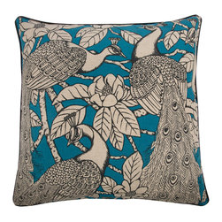 """Thomas Paul - Thomas Paul Prance Turquoise Pillow - Packed with charm, Thomas Paul's collection of throw pillows adds eclectic style to a sofa, chair or bed. An illustrated rendering of peacocks nestled amongst the trees is backed by a contemporary spiral design on the double-sided Prance pillow. 22""""W x 22""""H; 100% linen; Hand silk-screened design; Turquoise, black and neutrals; Black contrast piping; Reversible; Includes feather down insert; Dry clean only"""