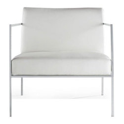 n/a - Delano Chair, White Leather - Delano Chair is a modern chair with classic sensibility. Featuring a stainless steel frame, luxurious top-grain Italian leather upholstery and CFS foam for extreme comfort.