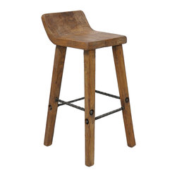 Tam Bar Stool - Give your guests a few extra inches of comfort with this half-backed stool. With iron details and a sturdy wood stance, this will literally stand the test of time.
