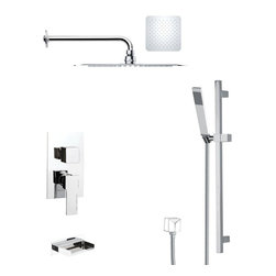 Remer - Polished Chrome Tub and Rain Shower Faucet with Hand Shower - Single function tub and shower faucet.