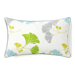 Jiti - Gingko Marine Pillow - Jazz up your home decor with our Ginko Marine Pillow !  Made from 100% Cotton. Invisible Zipper. DRY CLEAN ONLY. Insert is made of 95% feathers and 5% down.