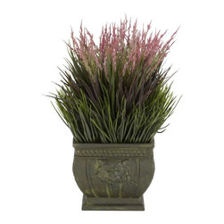 Mixed Grass Silk Plant (Indoor/Outdoor) - Who would think grass could look so beautiful? This wonderfully designed 13 inch high arrangement takes the regular look of grass, adds a generous splash of pastel color on top to make something truly elegant and a joy to behold. Set in a Greco-Roman inspired vase it's a great addition to any living environment. Best of all, you'll never worry about the grass drying out (or mowing it!) Height= 13 in x Width= 8 in x Depth= 8 in