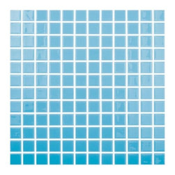 """Crayola - Recycled Glass Mosaics Turquoise Glossy 12.25"""" x 12.25"""" - The new  Recycled Collection consists of 36 solid colors in two finishes and nine special blends. Approved for both floor and wall use in commercial as well as residential applications, finished products from this new series (which contain 99% recycled glass) result in being SCS-certified, making them ideal for any LEED project."""