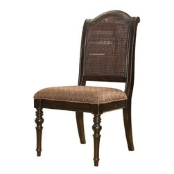 Lexington - Tommy Bahama Home Kingstown Isla Verde Side Chair - Spice tones lend a dash of the exotic to the tapestry seat, while the open-caned back and deep Tamarind finish speak to the island lifestyle. Additional fabrics may be applied, see store for details.