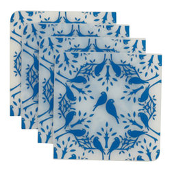 Modern-twist - Coaster Notz - Birds n Trees, Royal - Coaster Notz are crafted using eco-chic, food-safe silicone. They can be personalized time and again using a ballpoint pen. Offered in a variety of colors, each pattern comes in a box of four. Recycled packaging reduces environmental impact.