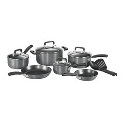 "T-fal - Signature Hard Anodized 12-Piece Cookware Set - Set includes: 8'' fry pan, 10.25'' fry pan, 1-qt saucepan, 2-qt saucepan, 3-qt saucepan, cover of 1-qt saucepan, cover of 2-qt saucepan, cover of 3-qt saucepan, 5-qrt dutch oven, cover of 5-qt dutch oven and 2 tools Features: -Non-stick interior for easy cooking and easy clean up.-Hard anodized exterior for long lasting durability.-Soft touch handles are ergonomically designed for comfortable gripping.-Collection: Signature Hard Anodized.-Distressed: No.-Powder Coated Finish: No.-Gloss Finish: No.-Material: Aluminum.-Base Material: Aluminum.-Number of Items Included: 12.-Non Toxic: Yes.-Scratch Resistant: Yes.-Rust Resistant: Yes.-Warp Resistant: Yes.-Chip Resistant: Yes.-Tarnish Resistant: Yes.-Stain Resistant: Yes.-Peel Resistant: Yes.-Nonreactive: No.-Non-Stick Surface: Yes.-Construction: 3-ply.-Oven Safe: Yes.-Freezer Safe: No.-Microwave Safe: No.-Dishwasher Safe: No.-Maximum Temperature: 350 degrees.-Stove Safe: Yes -Stove Type Compatability: Gas;Electric;Glass..-Lids Included: Yes -Number of Lids: 4.-Lid Handle: Yes.-Lid Material: Glass.-Heat Resistant Lids: 350 degrees.-Air Vents: Yes..-Handles: Yes -Handle Material: Silicon.-Handle Finish: Black.-Non-Slip Handle: Yes.-Heat Resistant Handles: 350 degrees..-Nesting: Yes.-Outdoor Use: No.-Pouring Rims: No.-Hanging: Yes.-Commercial Use: Yes.-Recycled Content: No.-Eco-Friendly: No.Specifications: -PTFE Free: Yes.-PFOA Free: Yes.Dimensions: -Skillets Overall Width - Side to Side: 10.25"".-Skillets Overall Depth - Front to Back: 10.25"".-Overall Product Weight: 17 lbs.Assembly: -Assembly Required: No.Warranty: -Limited lifetime warranty.-Product Warranty: Limited lifetime warranty."