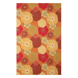 """Trans-Ocean - Disco Orange 42"""" x 66"""" Indoor/Outdoor Flatweave Rug - The highly detailed painterly effect is achieved by Liora Mannes patented Lamontage process which combines hand crafted art with cutting edge technology. These rugs are Hand Made of 100% Polyester fibers that are intricately blended together using Liora Manne's patented Lamontage process. They are then finished using modern needle punching and latexing processes that create a work of art that is practical. The flat simple nature of these Lamontage rugs is an ideal base with which to create a rug that is at the same time a work of art. Perfect for any Indoor or Outdoor space, they are antimicrobial,  UV stabilized, and easy care."""