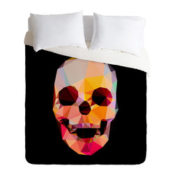 DENY Designs - Three Of The Possessed Skull Sunrise Duvet Cover - Turn your basic, boring down comforter into the super stylish focal point of your bedroom. Our Luxe Duvet is made from a heavy-weight luxurious woven polyester with a 50% cotton/50% polyester cream bottom. It also includes a hidden zipper with interior corner ties to secure your comforter. it's comfy, fade-resistant, and custom printed for each and every customer.