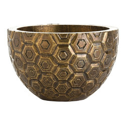 Arteriors - Kimo Container - This solid wood centerpiece is hand carved then clad in antique brass foil. Each piece will vary slightly, and the cladding will age into a rich patina finish. Decorative use only.
