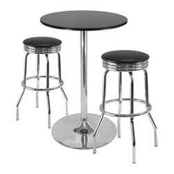 Winsome - Winsome Summit 3-Piece Pub Set with Swivel Stools in Black - Winsome - Pub Sets - 93380