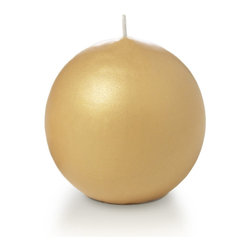 """Neo-Image Candlelight Ltd - Set of 12 - Yummi 2.8"""" Gold Pearlescent Sphere Candles - Our unscented 2.8"""" Pearlescent Sphere Candles are ideal when creating a beautiful candlelight arrangement for the home or wedding decor.  Available in 7 trendy pearlescent candle colors hand over dipped with white core to match and compliment your home decor or wedding centerpiece decoration."""