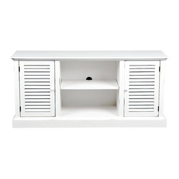 Holly & Martin - Savannah Media Stand in Antique White Finish - Three adjustable shelves. Center cord management. Holds up to a 50 in. flat panel TV. Made from rubberwood and MDF. White finish with rub through. Assembly required. Center Storage: 20 in. W x 14 in. D x 19 in. H. Side Cabinets: 13 in. W x 13 in. D x 19 in. H. Overall: 52 in. W x 15.75 in. D x 24 in. H (84.76 lbs.). Assembly InstructionCharming and quaint, this white louvered media stand is a perfect blend of traditional and contemporary. The charm is further enhanced with slight rub through on the white paint finish to add character. The large center storage and concealed side storage areas are each enhanced with an adjustable shelf for versatility. In addition, the center space is complete with a centered hole for cord management in the back. Capable of holding up to a 50 in. flat panel TV, media player, receiver and gaming console, this unit is ideal for all modern amenities.