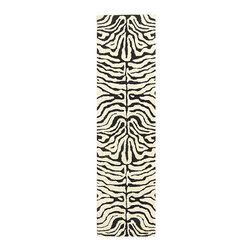 Safavieh - Handmade Soho Zebra Ivory/ Black N. Z. Wool Runner (2'6 x 14') - Enjoy the creature comforts of this animal print wool area rug with its striking, ivory and black zebra pattern and luxuriously soft pile hand tufted of 100 percent New Zealand wool. Its finished with a sturdy cotton canvas backing.