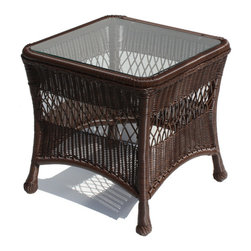 WickerParadise - Outdoor Wicker End Table - Princeton Shown In Chocolate Brown - Create your cottage look with some key wicker furniture pieces like this vintage style end table. The easy-to-clean glass and chocolate brown color gives it a classic, refined touch.