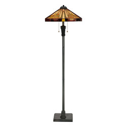 Quoizel - Quoizel Vintage Bronze Lamps - SKU: TF885F - This handcrafted Tiffany style collection illuminates your home with warm shades of amber, bisque and earthy green, arranged in a clean and simple geometric pattern reminiscent of the works of Frank Lloyd Wright. The sturdy base complements the Arts & Crafts style, and is finished in a Vintage Bronze.