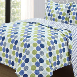 None - 'Dotty' 3-piece Reversible Cotton Quilt Set - This elegant 3-piece quilt set will add style and color to your bedroom. The colorful polka dot set comes with two matching shams and a reversible quilt, providing two looks in one.