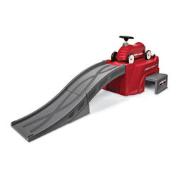 "Radio Flyer - Flyer 500 EZ Store Racetrack - Features: -Flyer 500 EZ store racetrack. -Fun riding foot-to-floor car for on- and off-track play. -Use ramp to launch race car. -Base includes wheels for easy transport. -Safe, sturdy step and platform. -Track and car fit in base for easy storage. -Over 6 feet long. -ISTA 3A certified. -Guaranteed against defects in workmanship and materials. -Assembly required. -Use for ages 1.5 to 5 years. -Body: 14.25"" x 10"" x 22"". -Track: 27"" x 27"" x 14.15"". -1 Year manufacturer's warranty."