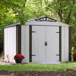 Arrow Shed - Arrow Shed Designer Series 10 x 8 ft. Steel Shed Multicolor - DS108 - Shop for Sheds and Storage from Hayneedle.com! Provide a charming complementary storage space to your home with the Arrow Shed Designer Series 10 x 8 ft. Steel Shed. Your storage shed shouldn't be garish and this piece provides a classic look that matches your traditional-style home exterior. The frame is constructed from solid hot-dipped galvanized steel for superior stability. Tall wall provide extra head- and storage-room while the outward-swinging double-door make interring or removing items easy. The exterior features a handsome two-tone design with ornamental hinges and a gable-style roof. Assembly is a several-day project for one or more persons. Additional Features: Interior Dimensions: 118.3W x 94.3D x 89.3H inches Door Dimensions:59.6W x 69H inches About Arrow Storage ProductsEstablished in 1962 as Arrow Group Industries Arrow Storage Products is now the worldwide leader in designing manufacturing and distributing steel storage sheds that are easily assembled from a kit. Arrow Storage Products hasn't garnered its 13 million customers by resting on its laurels either. The company takes great pride in having listened to their customers over the years to develop quality products that meet people's storage needs. From athletic equipment to holiday decorations from tools to recreational vehicles Arrow Storage Products prides itself on providing quality USA-built structures that offer storage solutions. Available in a wide variety of sizes models finishes and colors - Arrow's products are constructed with electro-galvanized steel to be more affordable durable attractive and easy to assemble.
