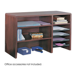 """Safco - 29""""W Compact Desk Top Organizer - Mahogany - On-top Organizing! The compact multipurpose desktop organizer brings versatility and accessibility for storage and organizing in small spaces! Furniture-grade compressed wood cabinetry with durable and attractive melamine finish and a finished back, allows placement in open areas. Literature sorter includes fixed letter-size shelf, three plastic slide-out trays for easy access to contents, plus a pullout organizer tray. Organizer tray features a built-in tape dispenser, Post-It notes compartment, two front bins for small supplies plus two pencil trays. Cord cutout in back panel.; Features: Material: Compressed Wood; Color: Mahogany; Finished Product Weight: 38 lbs.; Assembly Required: Yes; Tools Required: Yes; Limited Lifetime Warranty; Dimensions: 29""""W x 12""""D x 18""""H"""