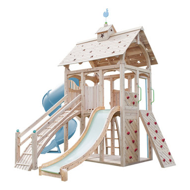 CedarWorks - CedarWorks Serendipity 6 Swingset - Have a small spot between the patio and pool? The Serendipity 6 fits the bill in every way. Serendipity 6 provides a large space to play in, with plenty of spots for your child's favorite accessory in a compact footprint. Hours of climbing enjoyment with safe, all natural, splinter-free Northern White Cedar construction. Assembly is required.
